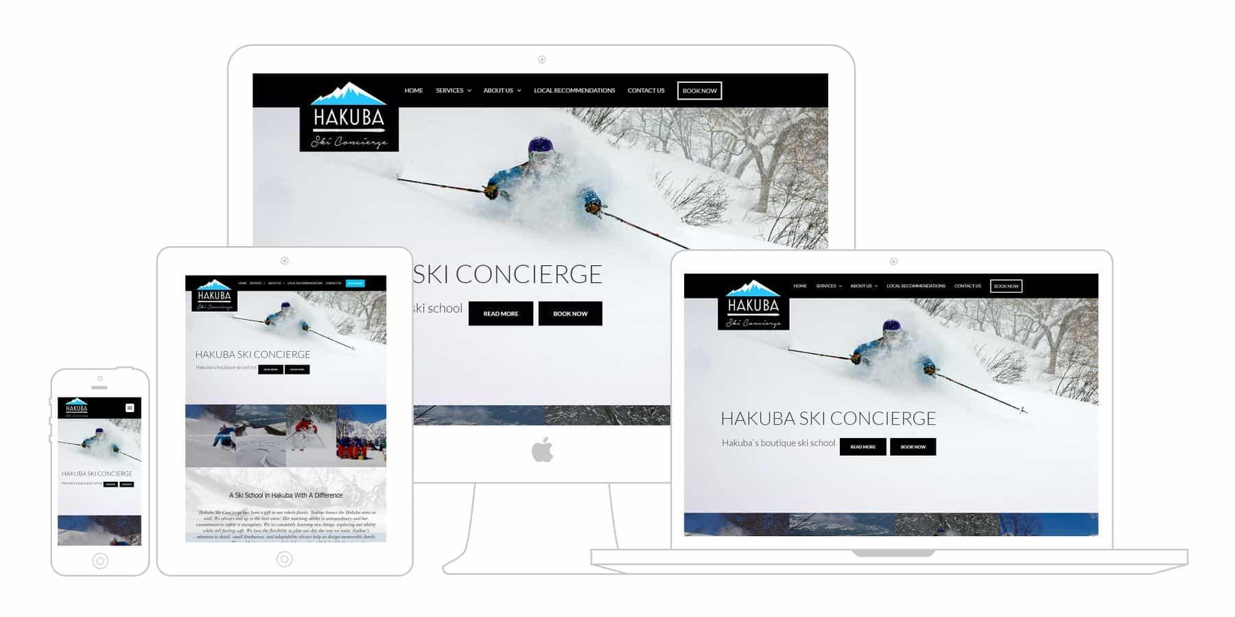 hakuba ski concierge website displayed on multiple screens