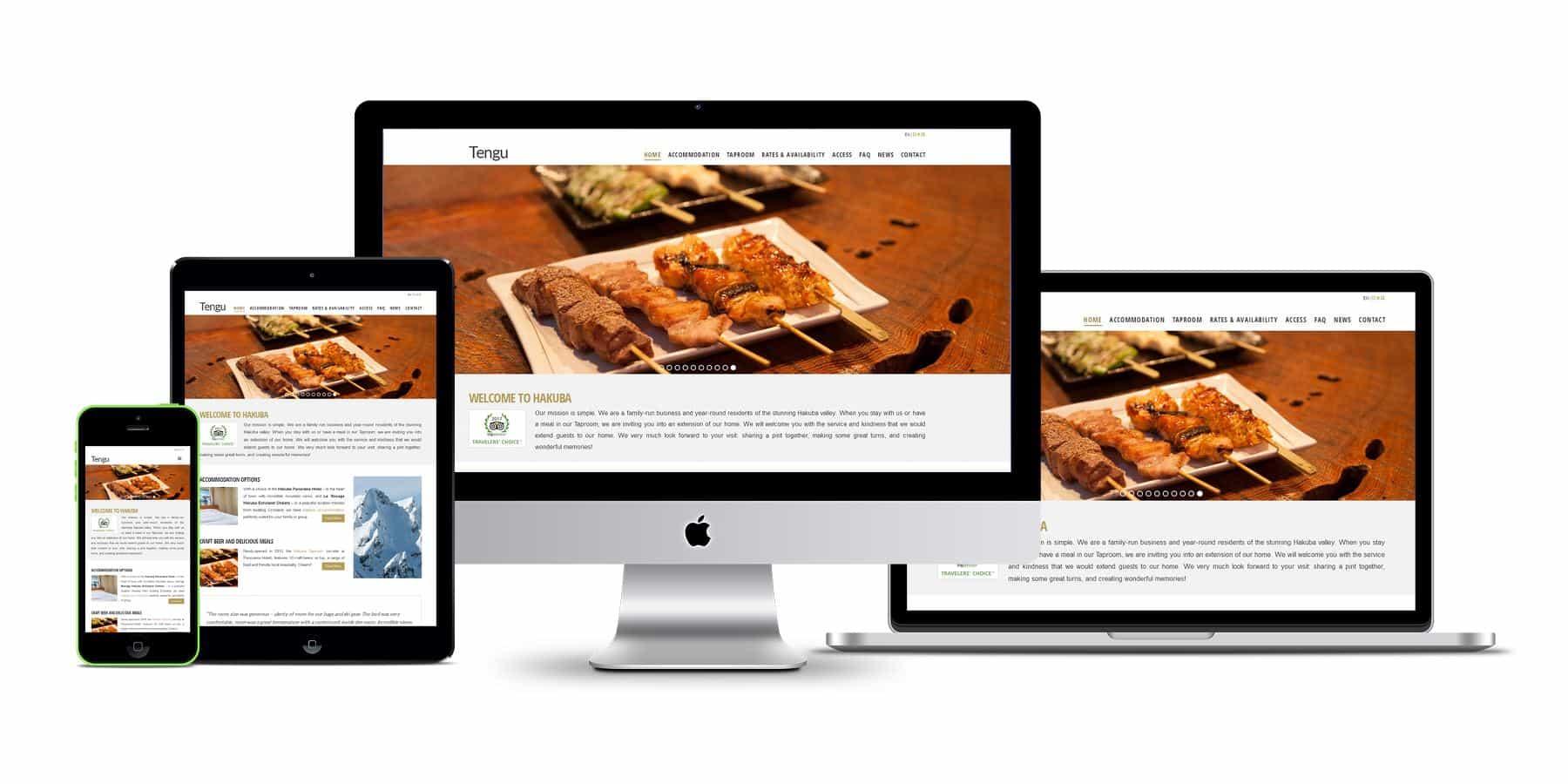 tengu properties website displayed on multiple screens