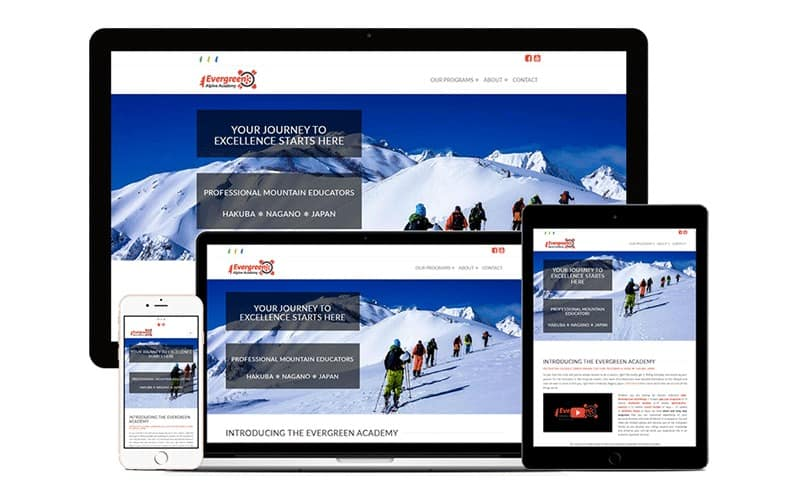tourism web design for evergreen alpine academy