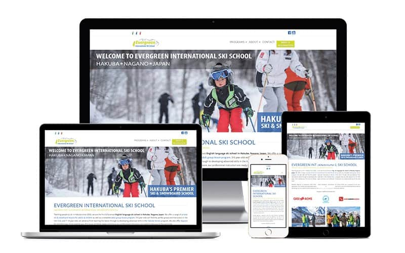 evergreen international ski school website versions
