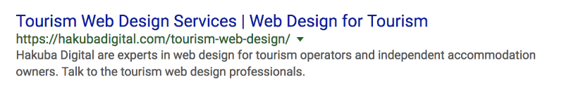 ranking in google for tourism web design