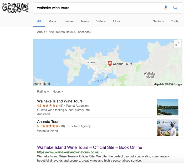 waiheke wine tours - google results